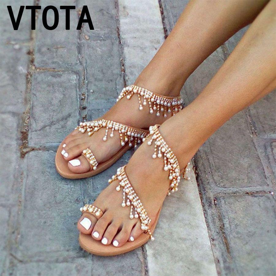 f72f5f9cbd7c4 VTOTA Luxury Shoes Women Designers Flat Sandals Ladies Sandals zapatos de  mujer Women Flat Sandals woman Sandals 2018 Summer K93