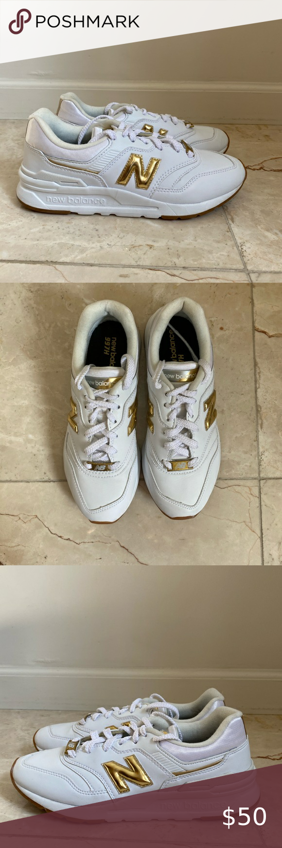 New Balance 997H gold \u0026 white sneakers
