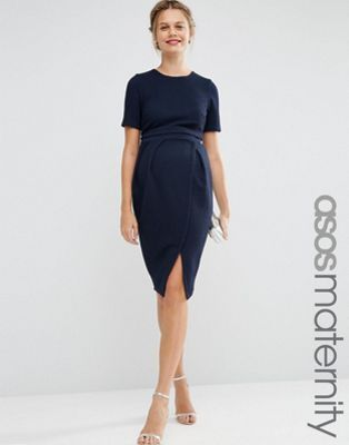 ad5c0decc30 ASOS Maternity Double Layer Textured Wiggle Dress