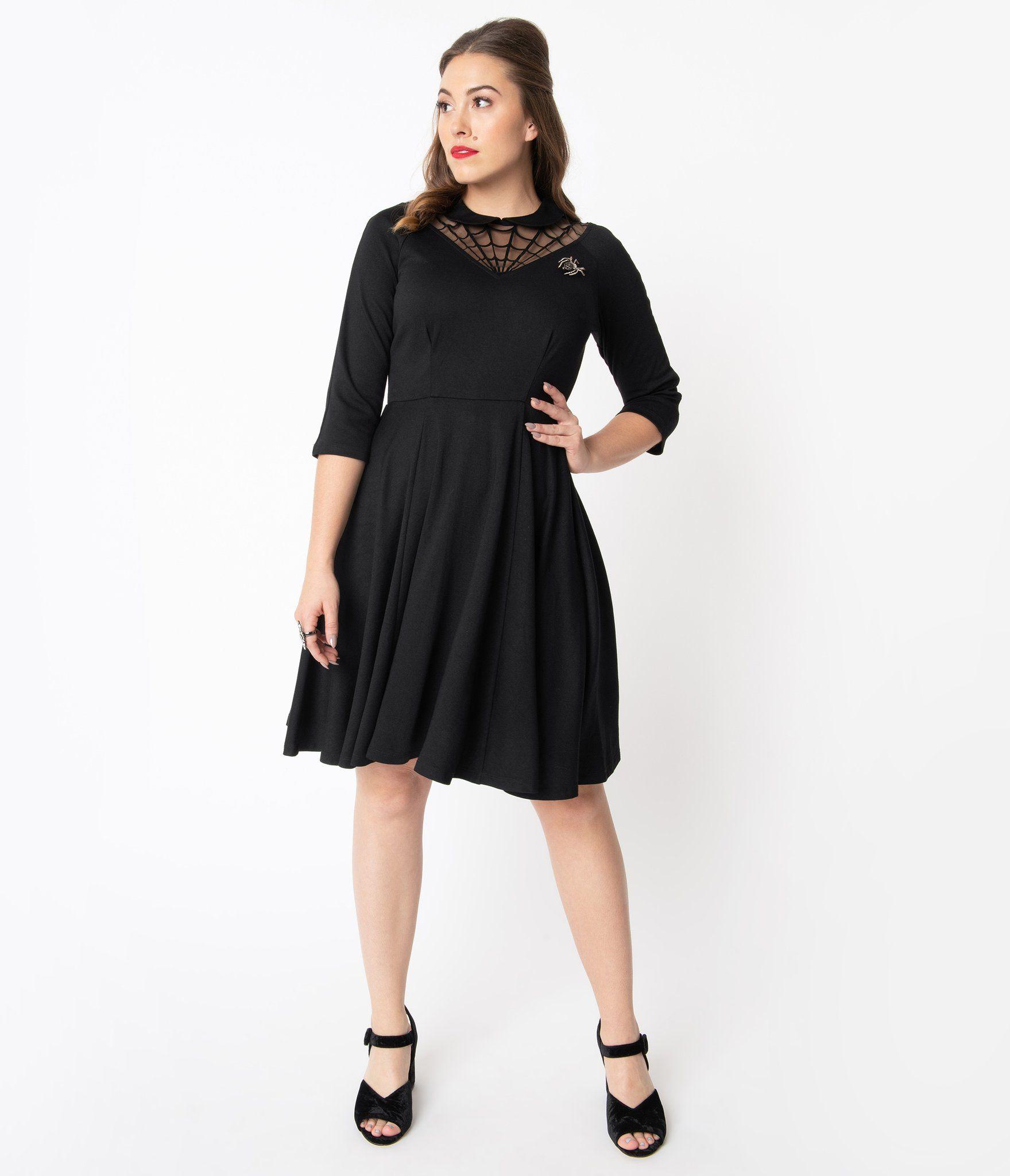 Unique Vintage Black Spiderweb Endora Fit Flare Dress Mod And Retro Clothing Flare Dress Fit Flare Dress Unique Dresses [ 2048 x 1759 Pixel ]