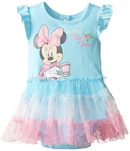 55c4a06877e1 Disney BabyGirls Newborn Minnie Mouse Creeper with Attached Skirt ...