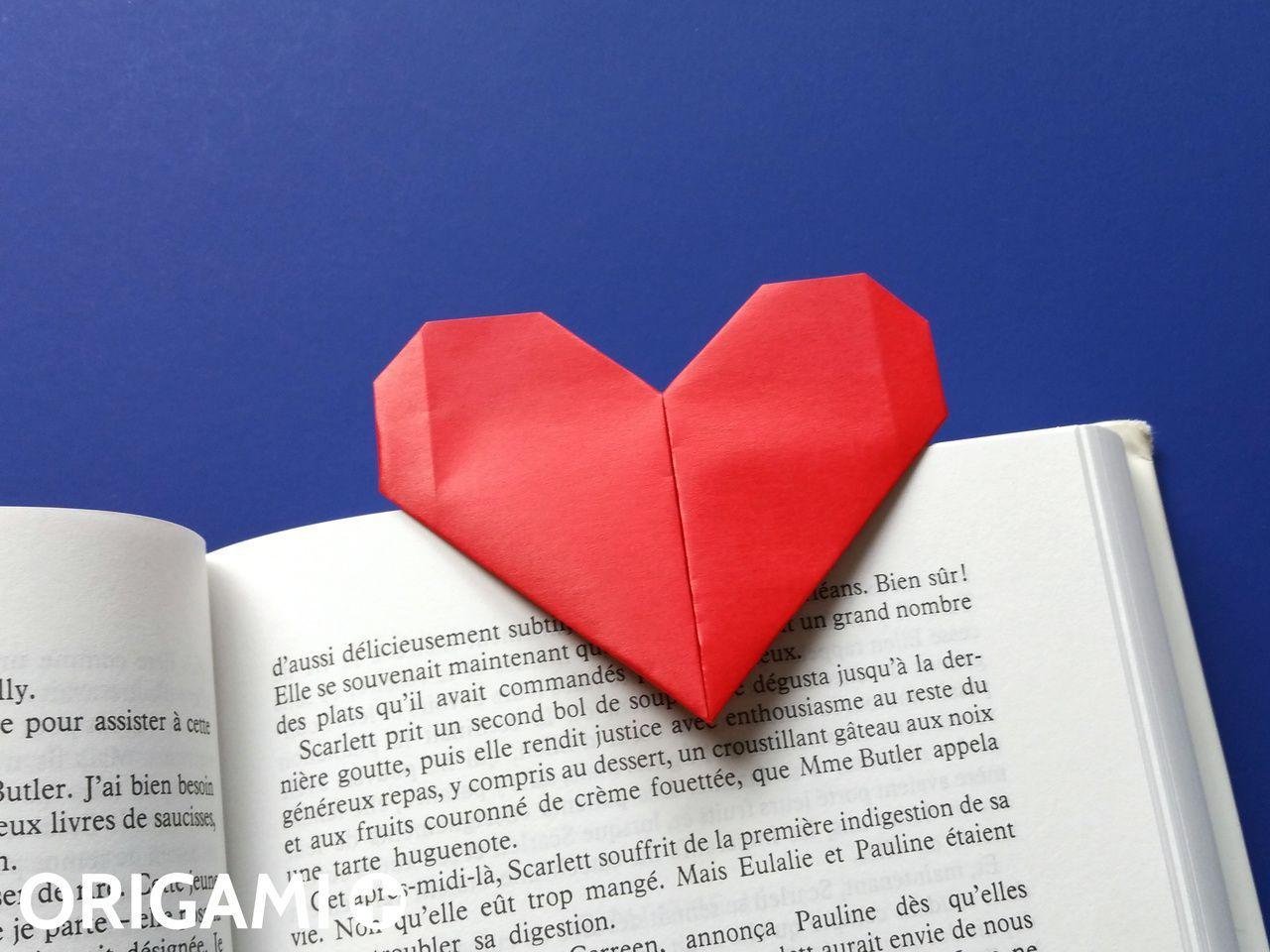 Heart Bookmark - step 2   Origami tutorial easy, Heart bookmark, Origami heart