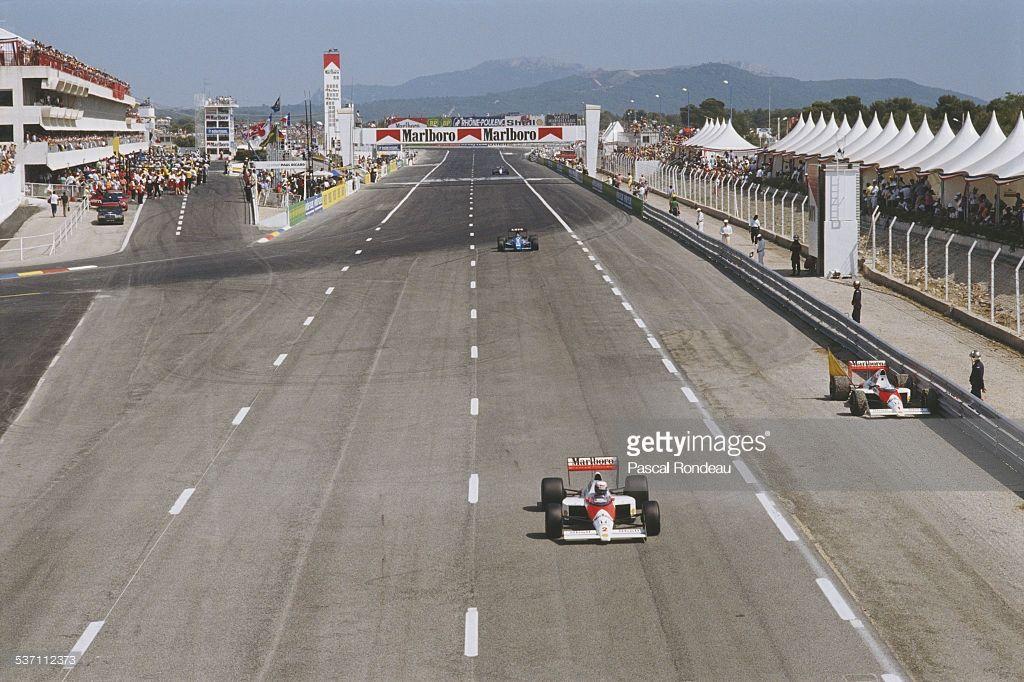 Alain Prost drives the 2 Marlboro McLaren Honda MP4/5