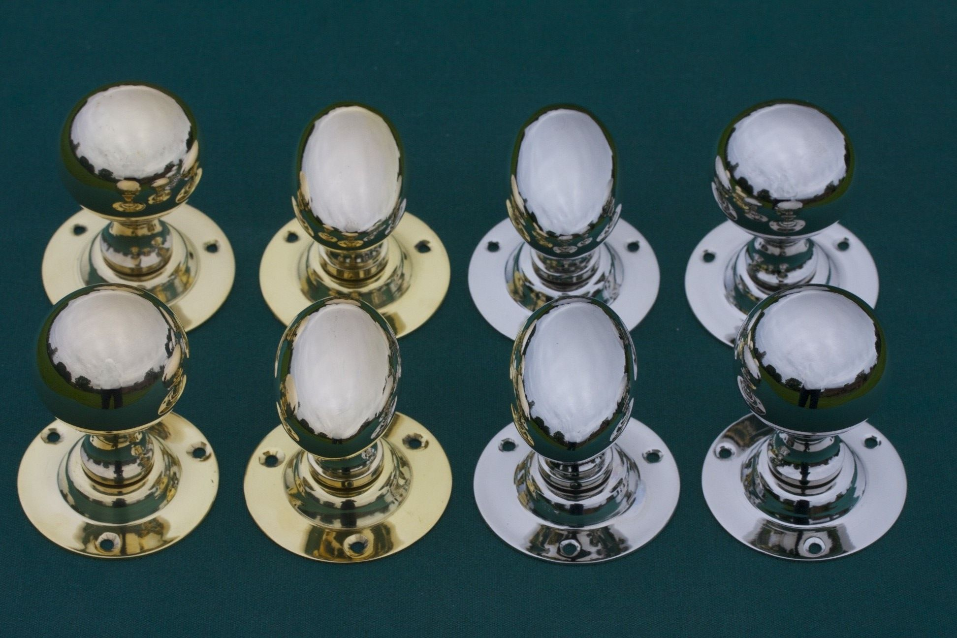 Classic door knob shapes oval and round ball. Shown in brass and ...
