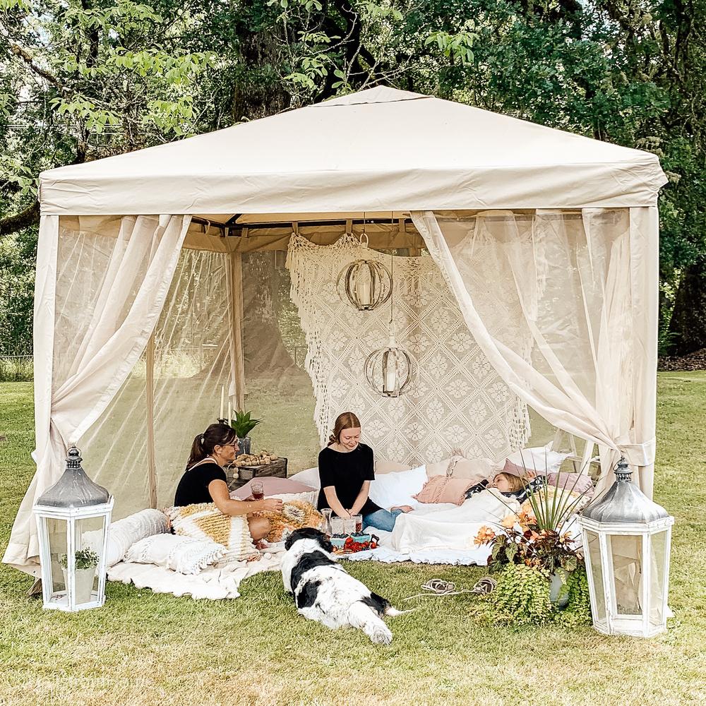Sorara 10 X 10 Feet Gazebo Pavilion Fully Enclosed Heavy Canopy Abba Patio Canopy Outdoor Patio Gazebo Backyard Camping