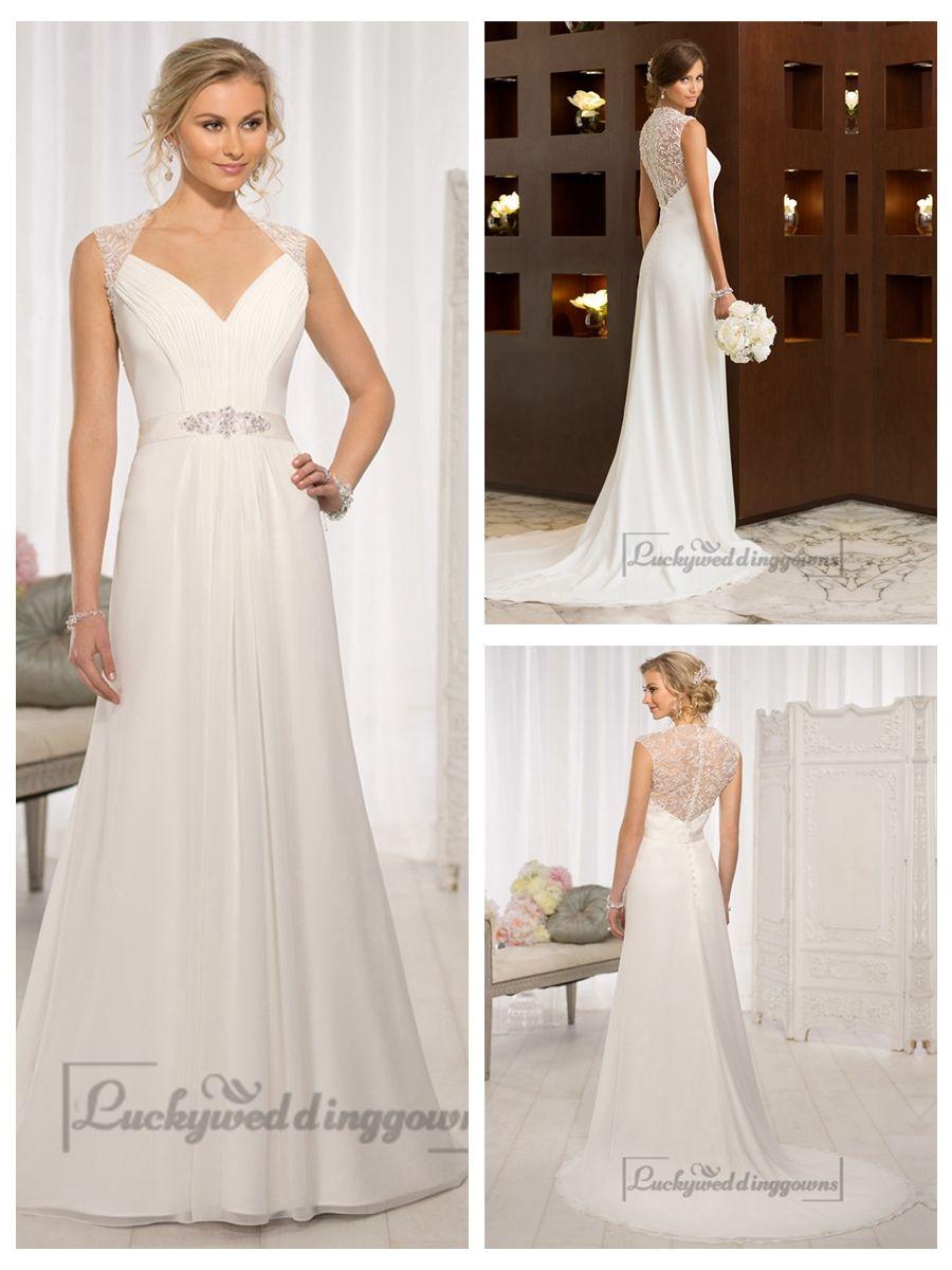 Elegant cap sleeves chiffon sheath simple wedding dresses with