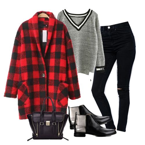 Red Long Sleeve Plaid Woolen Coat