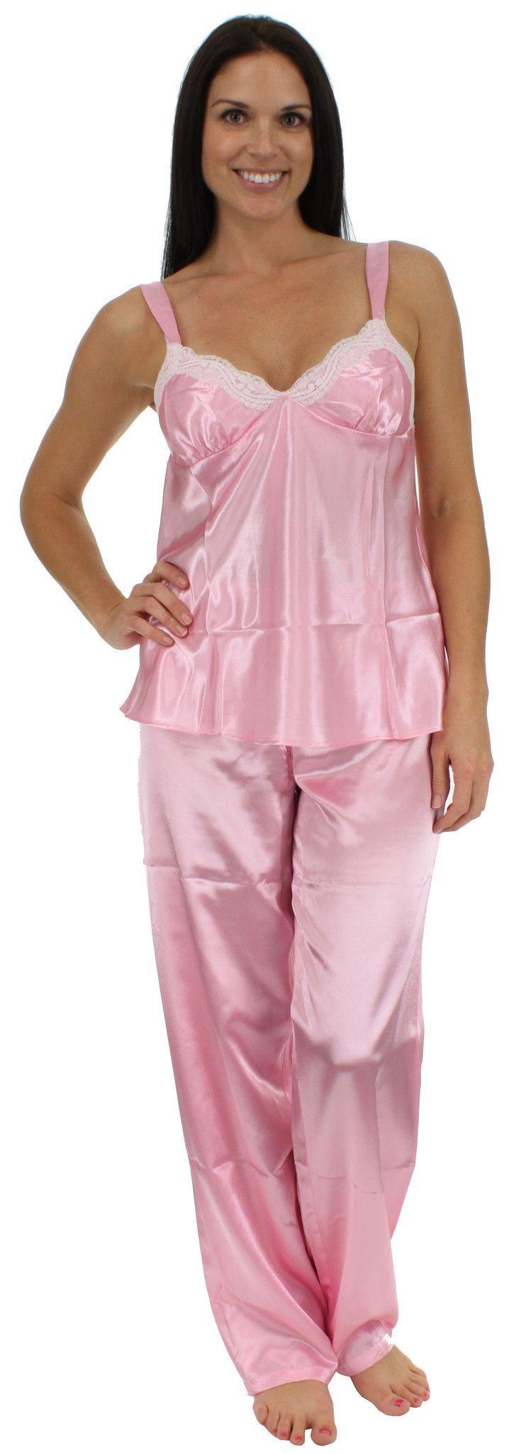 Pajama Heaven Women\'s Satin Camisole and Pant Set