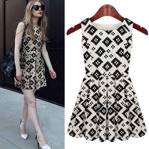 Contrast Color Geometric Pattern Sleeveless Pleated Skater Dress