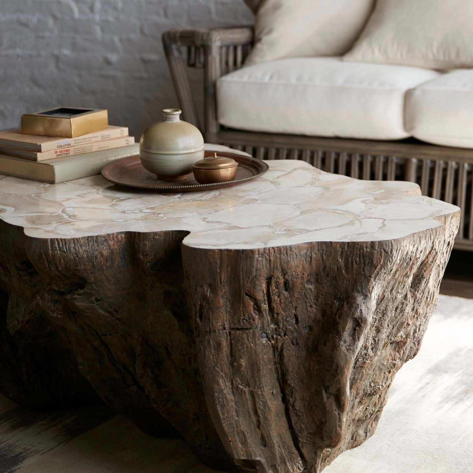Inlaid Fossilized Clam Shell On Stonecast Base Made From A Natural Tree Trunk Mold Incr Wood Coffee Table Living Room Coffee Table Living Room Coffee Table [ 1634 x 1634 Pixel ]