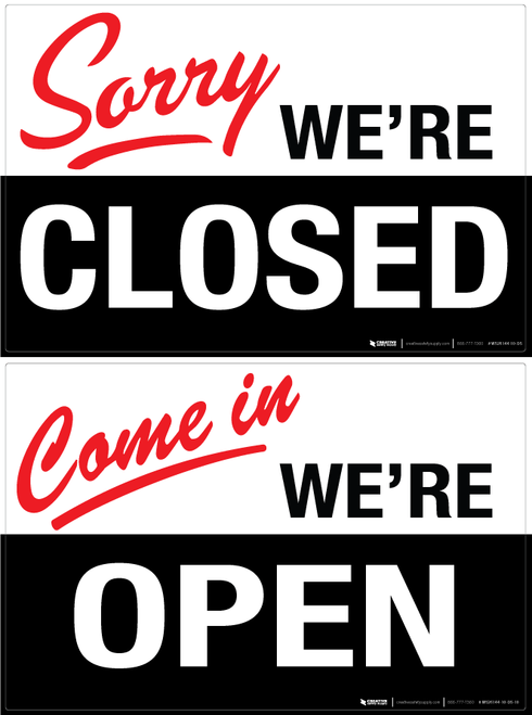 Double Sided Open Close Wall Sign Wall Signs Signs Open Closed Signs