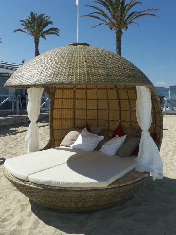 Daybed Rattan Cocoon Around Design Outdoor Beach Nature