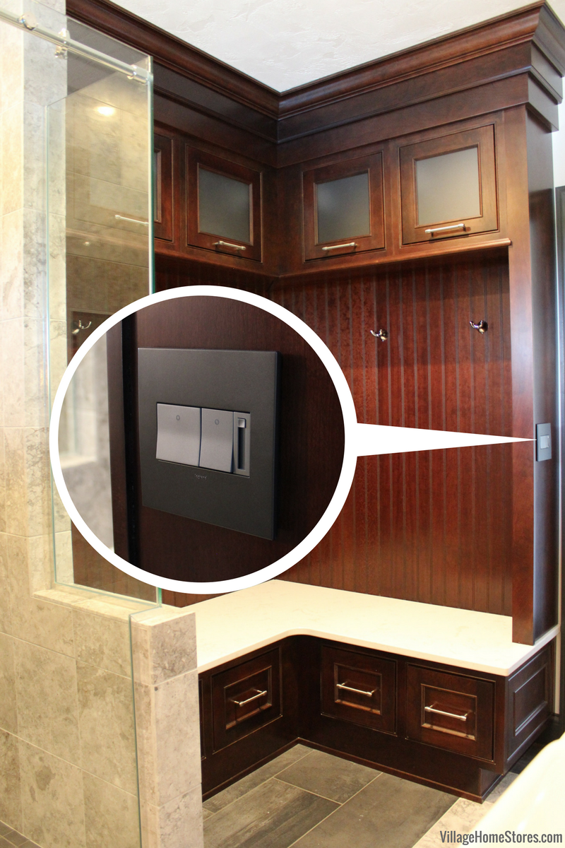 Village home interior design custom cabinet with outlet on side panel design and materials by