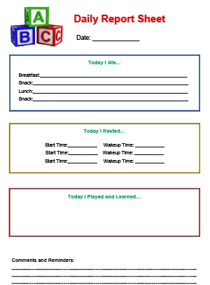 Daily Report Sheet Printable For Child Care  Favorite Places