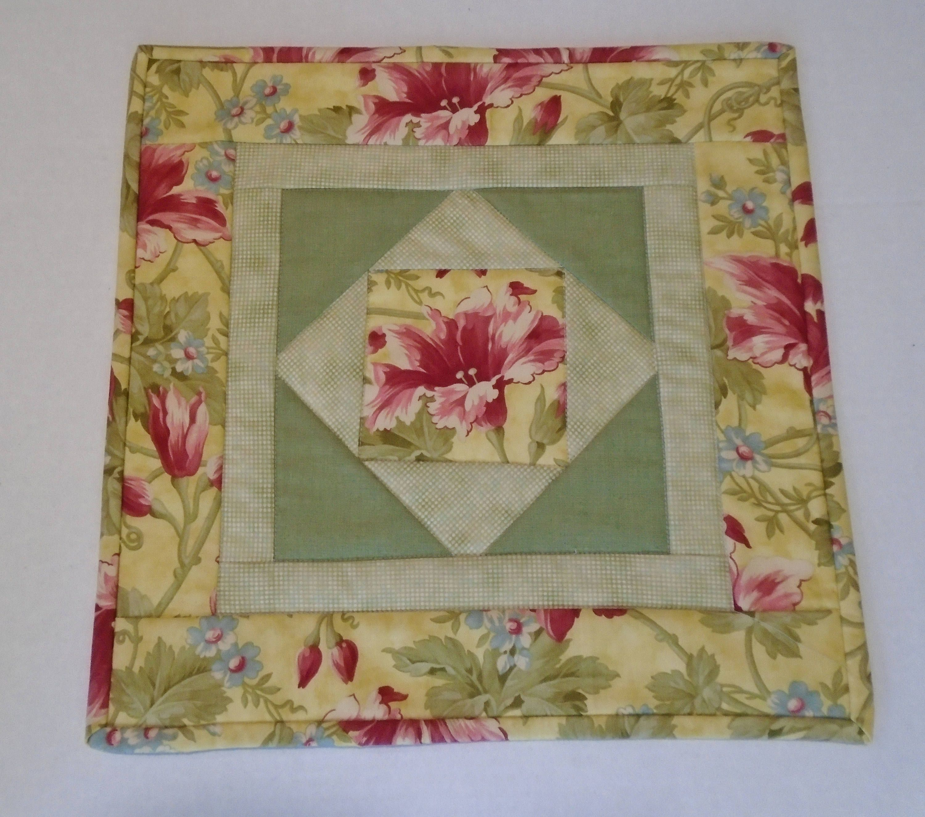 Floral Quilted Table Topper In Gold And Green, Quilted Table
