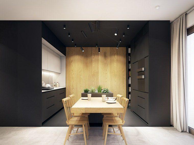 inspiration deco cuisine bois meubles et plafond noirs cuisine noir bois id es d co. Black Bedroom Furniture Sets. Home Design Ideas