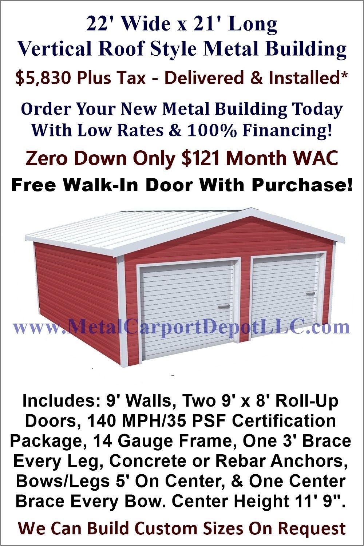 22 X 21 Steel Building Vertical Roof Metal Garage Metal Carport Depot Roof Styles Metal Buildings Roof Panels
