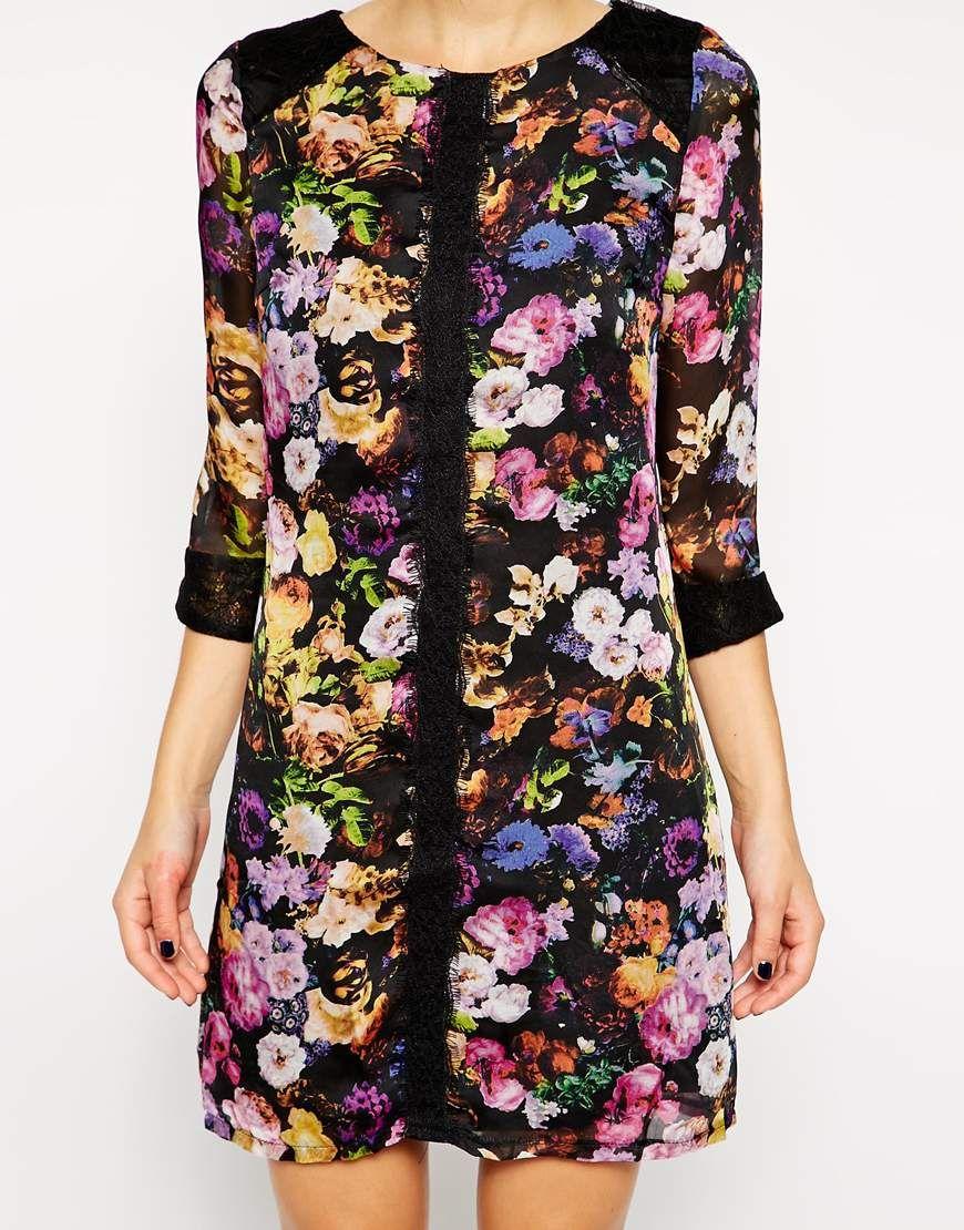 Image 3 ofLittle Mistress Floral Print Shift Dress
