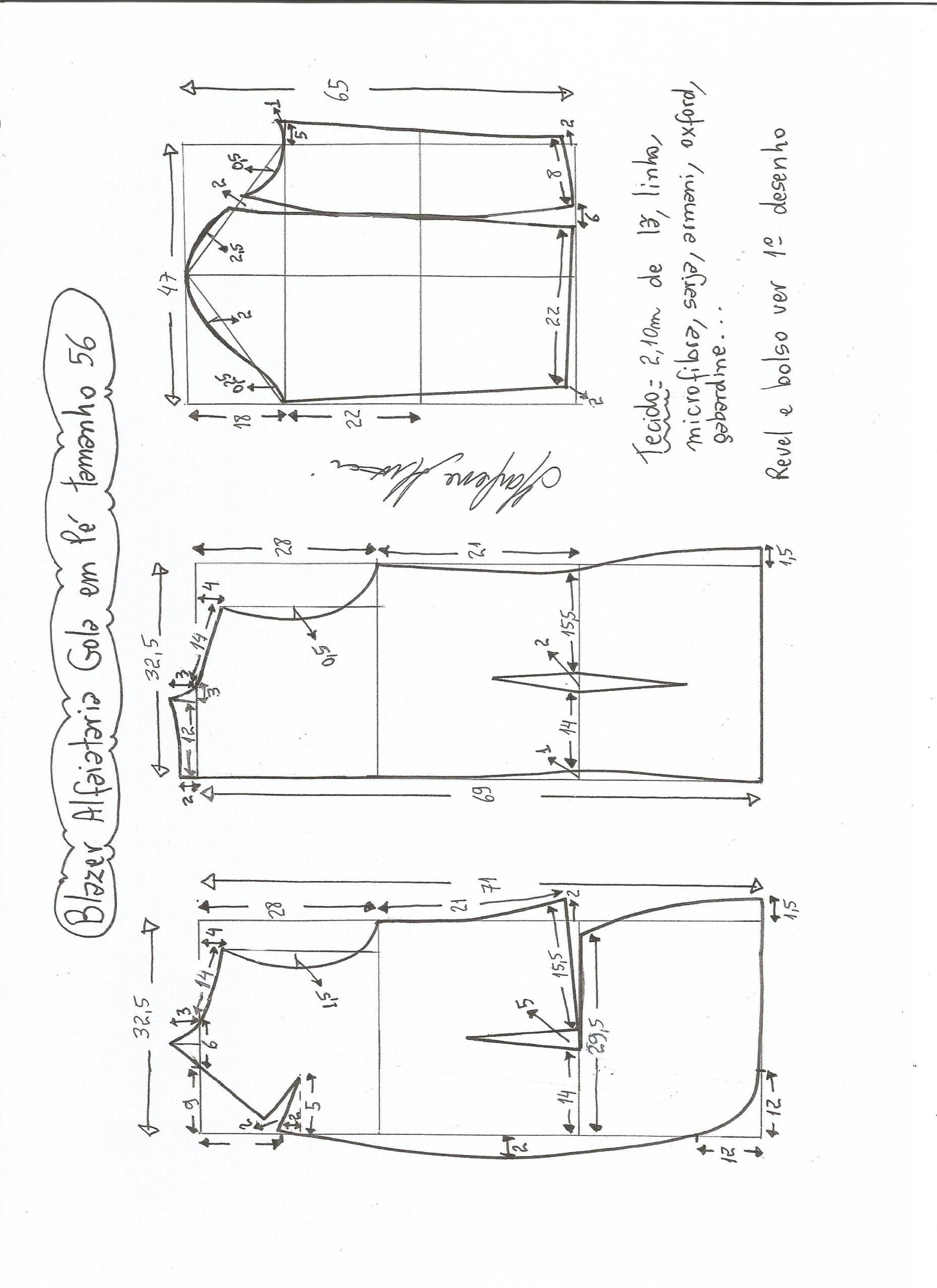 2173dbea8c Esquema de modelagem de blazer alfaiataria com gola em pé tamanho 56.
