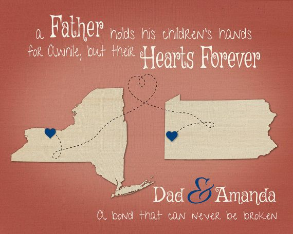 Birthday Present For Dad Step Gift Father Daughter Quote Personalized Map Print Long Distance Going Away