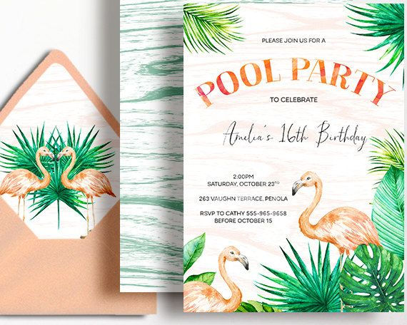 Flamingo Invitation Tropical Party Pool Party Peach Mint Palm by WestminsterPaperCo on Etsy