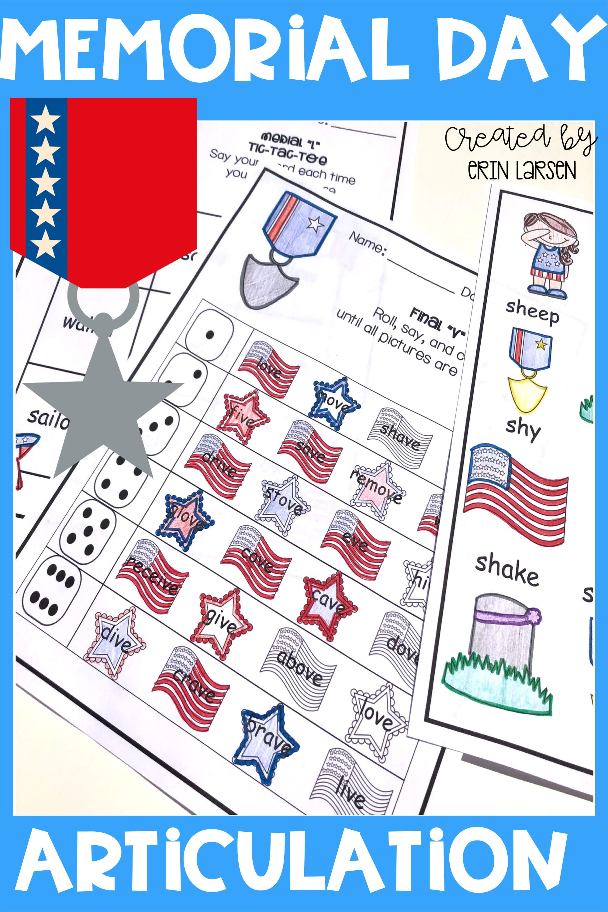 Memorial Day Articulation Activities For All Sounds
