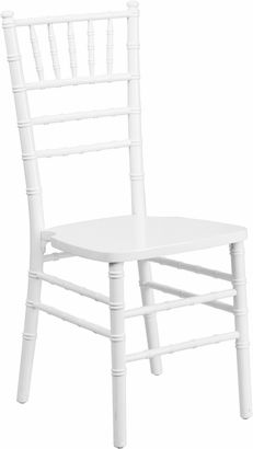 Flash Elegance Supreme White Wood Chiavari Chair with Free Cushion [XS-WHITE-GG] $35