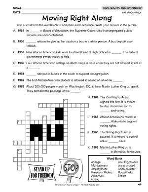Worksheet: Civil Rights Movement | Civil Rights Movement | Pinterest