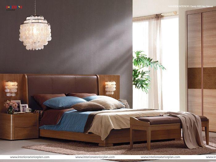 Schlafzimmer Ideen Lampe, Design, Blau, Braun, Beige, Schrank,  Zimmerpflanze,