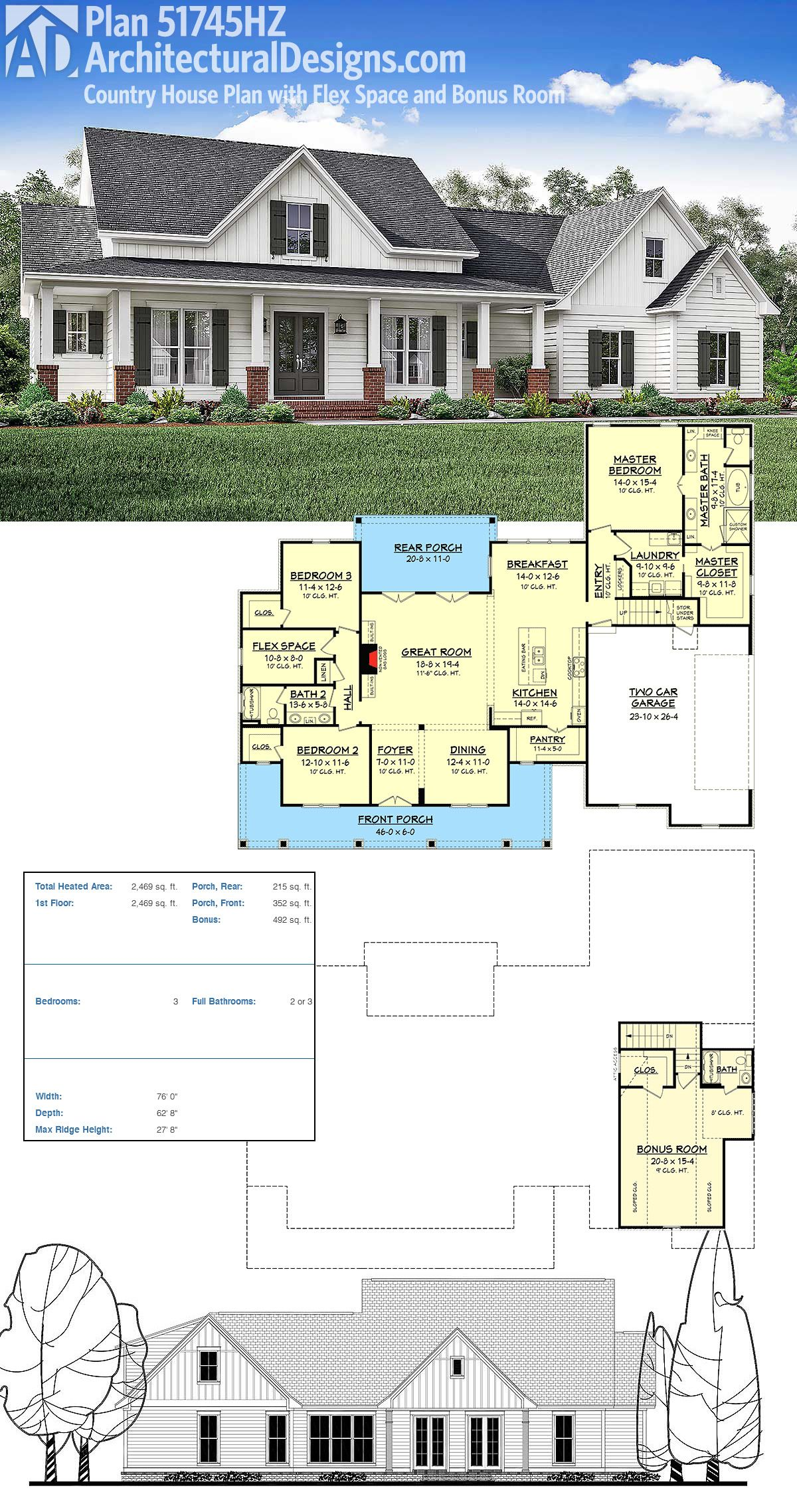 Plan 51745hz Country House Plan With Flex Space And Bonus Room Architectural Design House Plans Country House Plan Farmhouse Plans