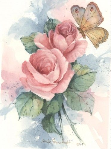 Butterfly With Roses 5x7 Watercolor Cshoresinc Painting On
