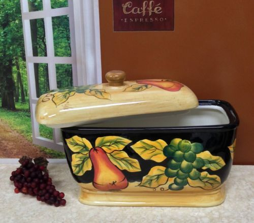 Tuscan Toast Jar Bread Box Tuscany Fruit Decor Italian Style Storage Organizer Tuscan Colors Tuscan Style Dinnerware