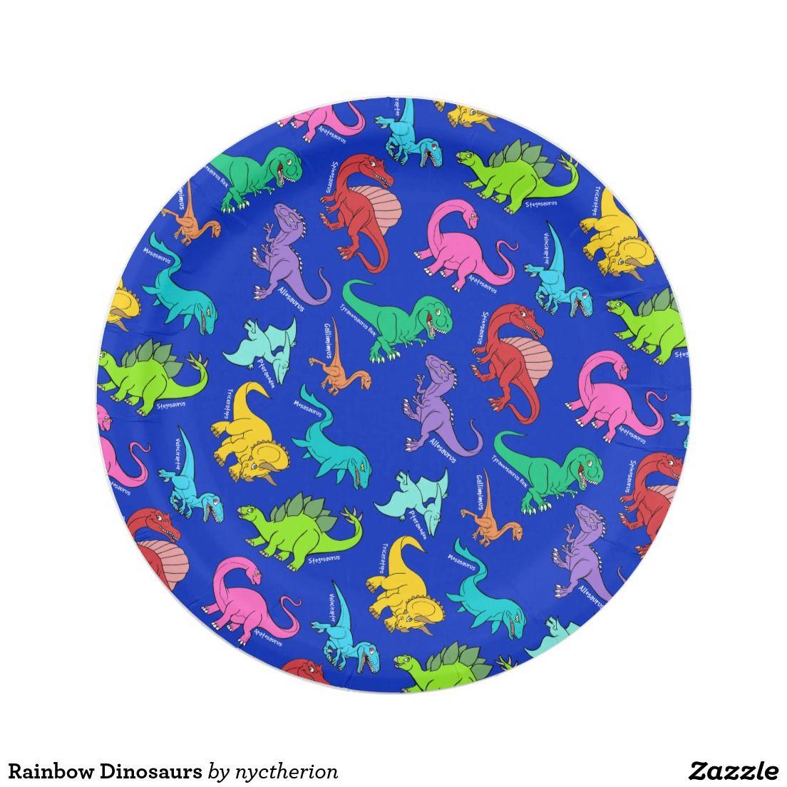 Rainbow Dinosaurs Paper Plate