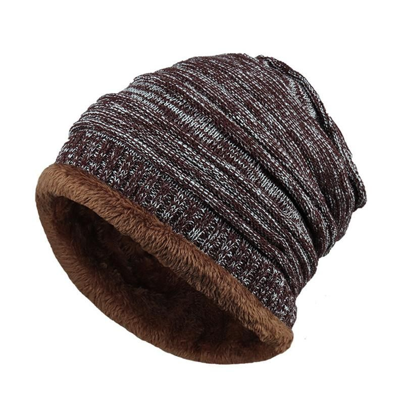 cf510aae5 Mens Fleece Cap Baggy Winter Striped Cashmere Beanie Hat Fashion ...