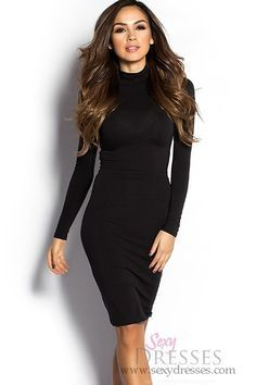 Black long sleeve high neck bodycon dress