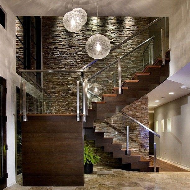 Modern Entry By Phil Kean Designs Stone Wall, Light Fixtures And Staircase