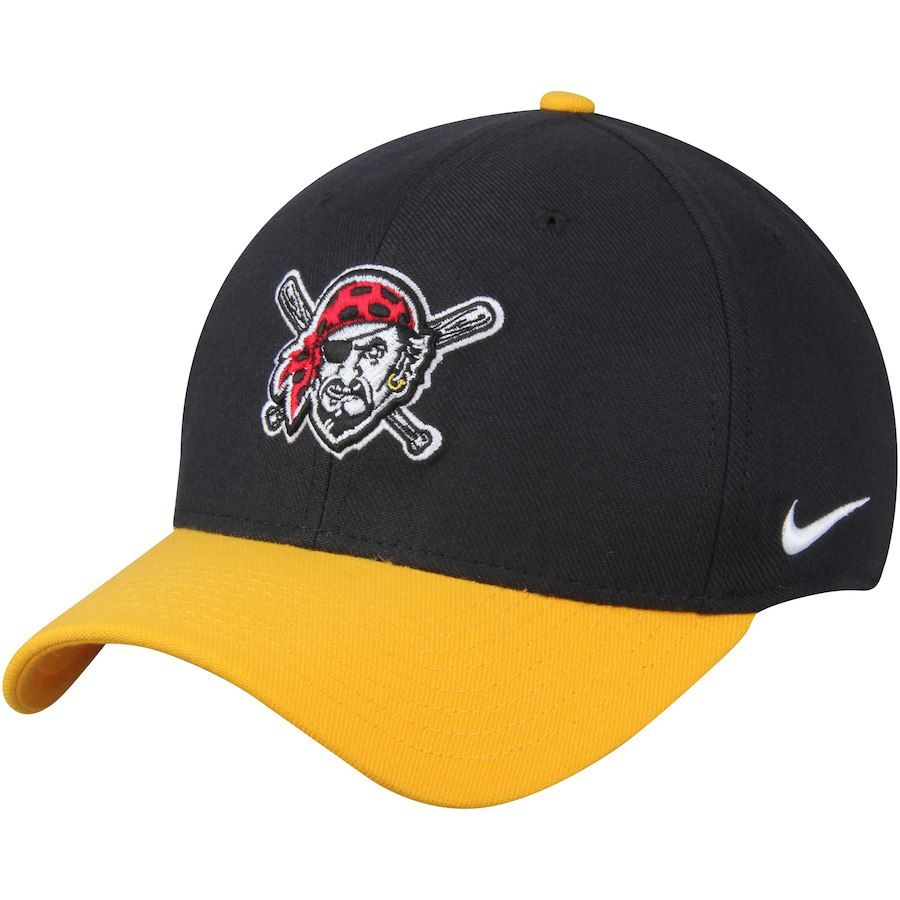 f8c496893176d Men s Pittsburgh Pirates Nike Black Swoosh II Flex Hat