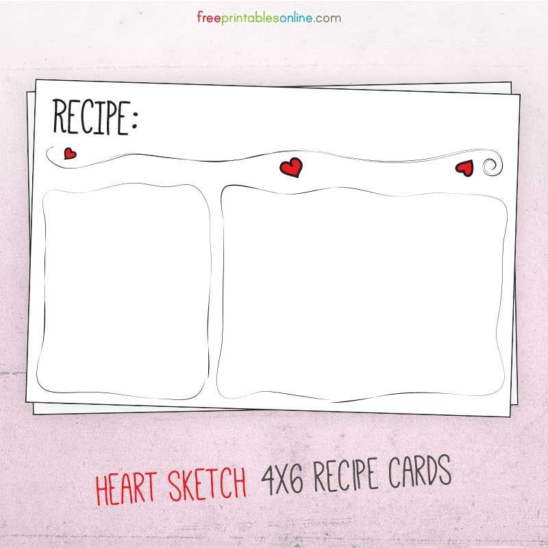 Download Sketched Heart Valentine 4x6 Recipe Card Set Recipe Cards Template Recipe Cards Printable Recipe Cards