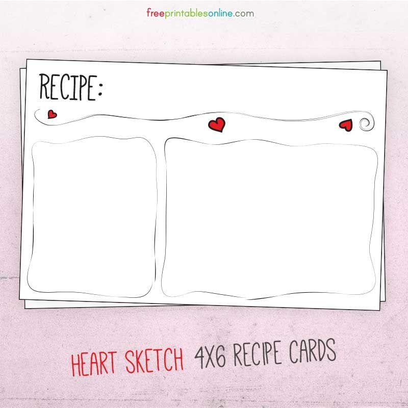 Sketched Heart Valentine Recipe Card Free Printables Online