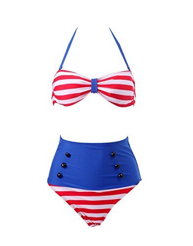 8d723e74277b Collager Women Vintage 50s Pinup Girl Rockabilly High Waist Retro Bikini  Swimsuit Set- Patriotic bathing suits women - Look festive with patriotic  and sexy ...