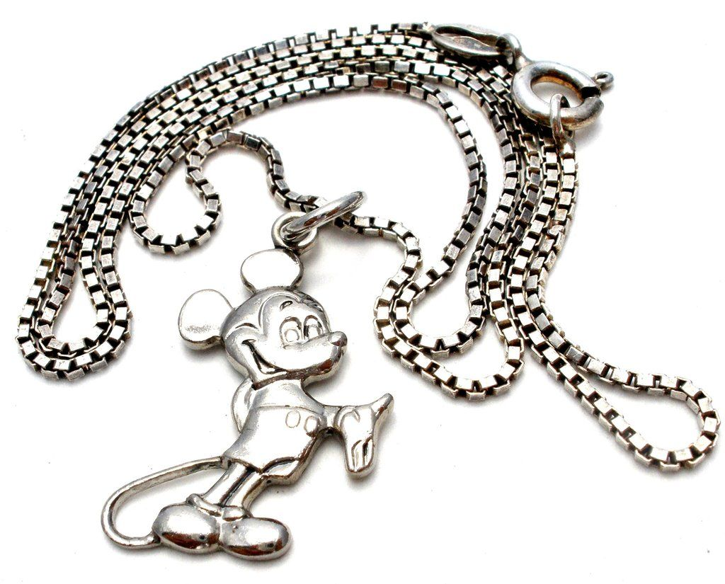 Disney Mickey Mouse Necklace Sterling Silver Vintage