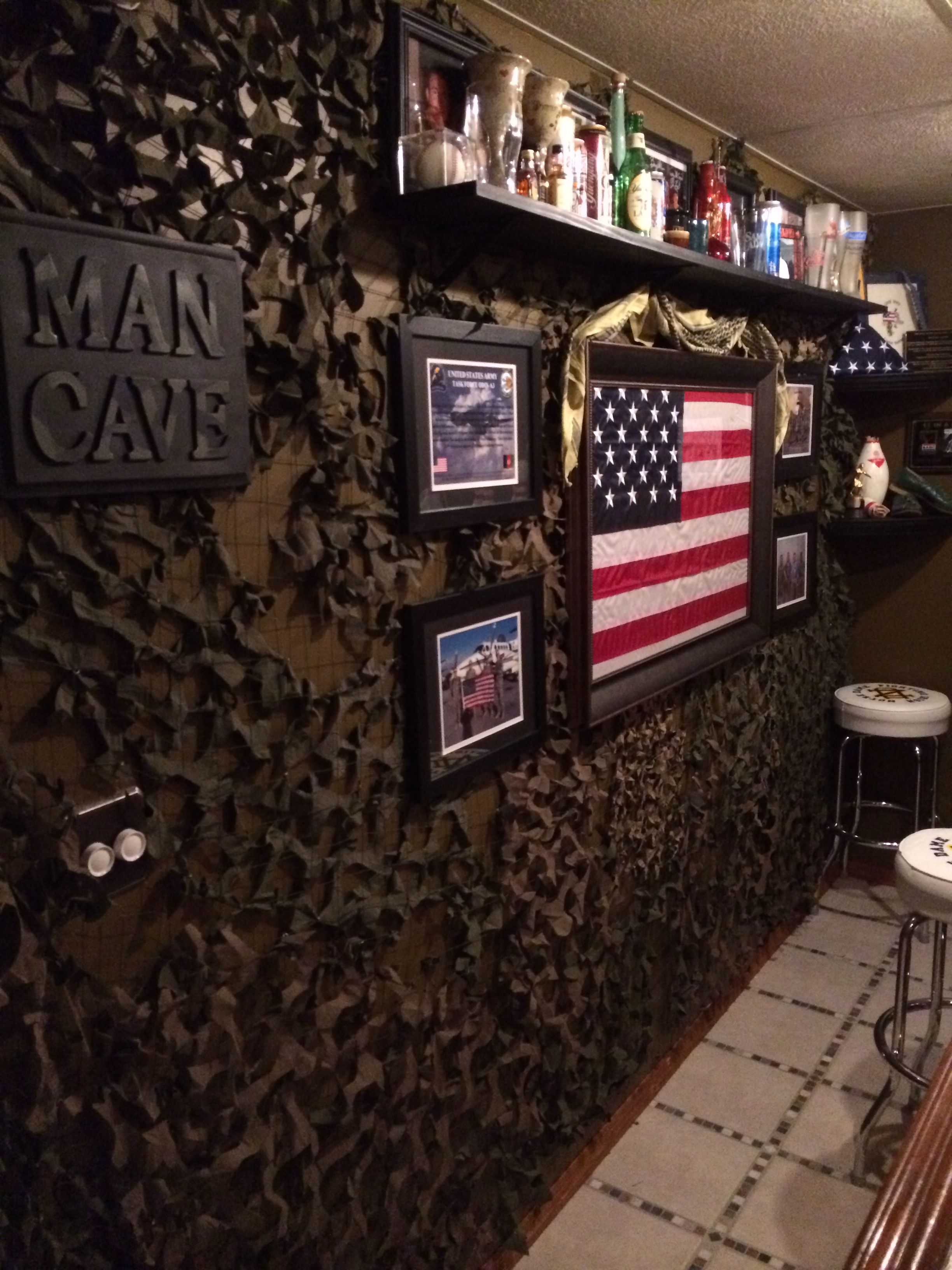 Camo Netting Behind The Bar Man Cave With A Small