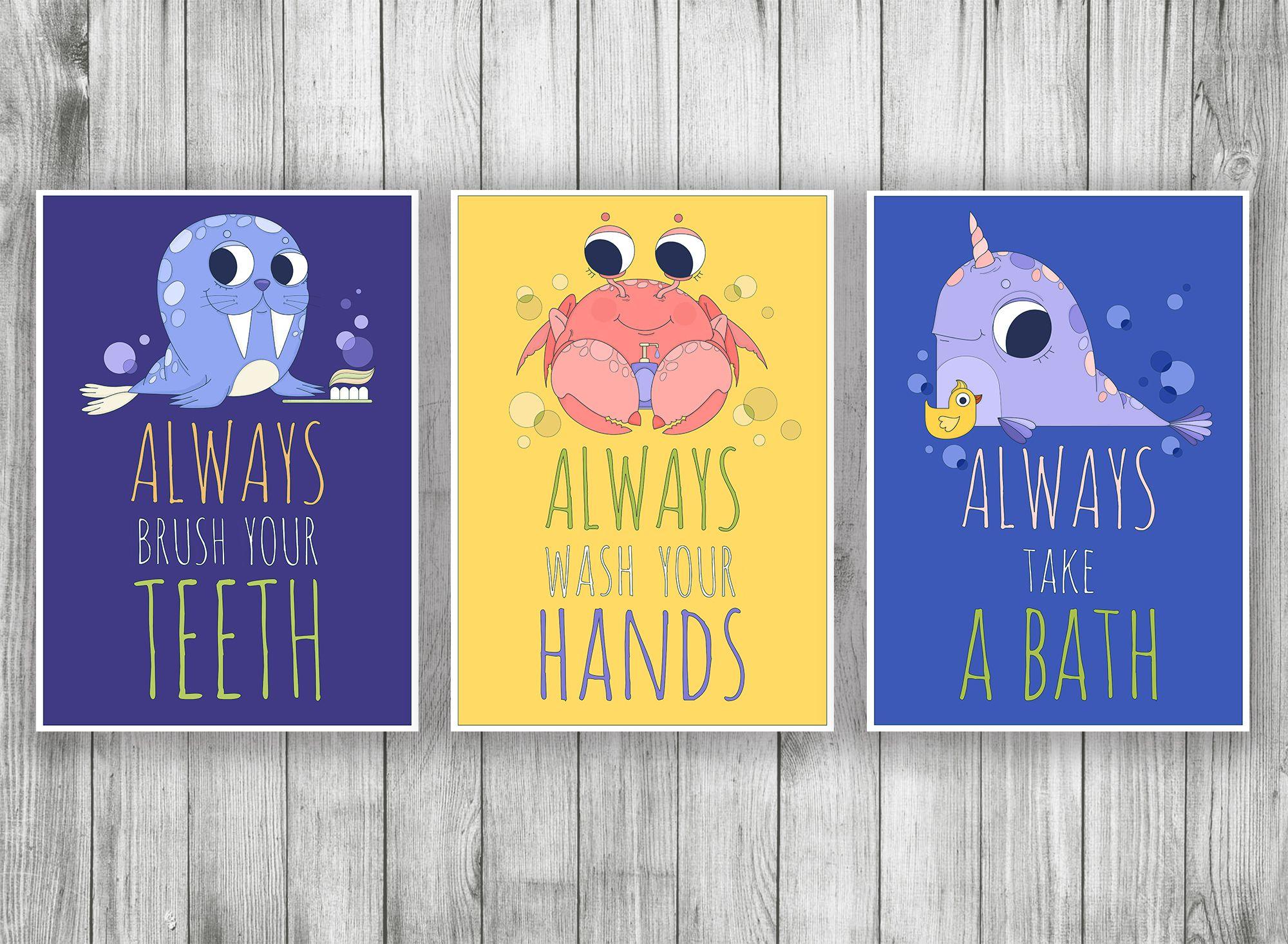 Bathroom Wall Decor Set, Printable Kids Bathroom Signs, Funny ...