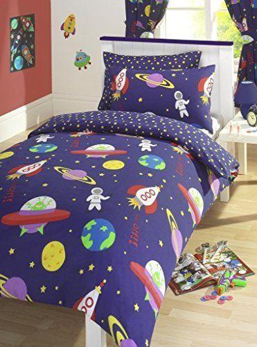Blue Blast Off E Man Rockets Reversible Junior Cot Bed Duvet Cover Set Inc Pillowcase