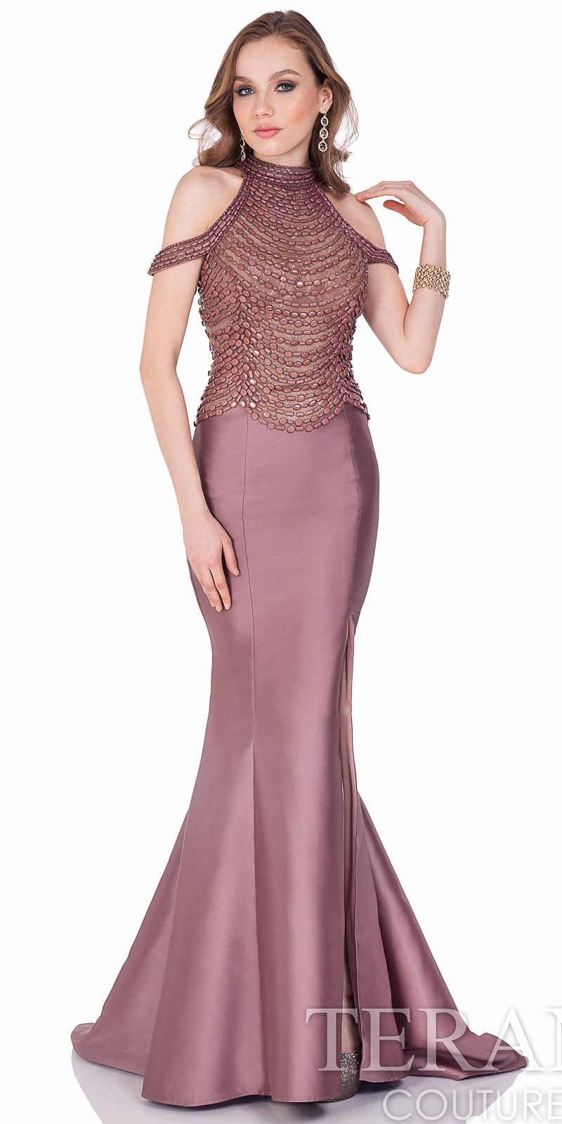 Cold Shoulder Mikado Beaded Evening Dress by Terani Couture ...