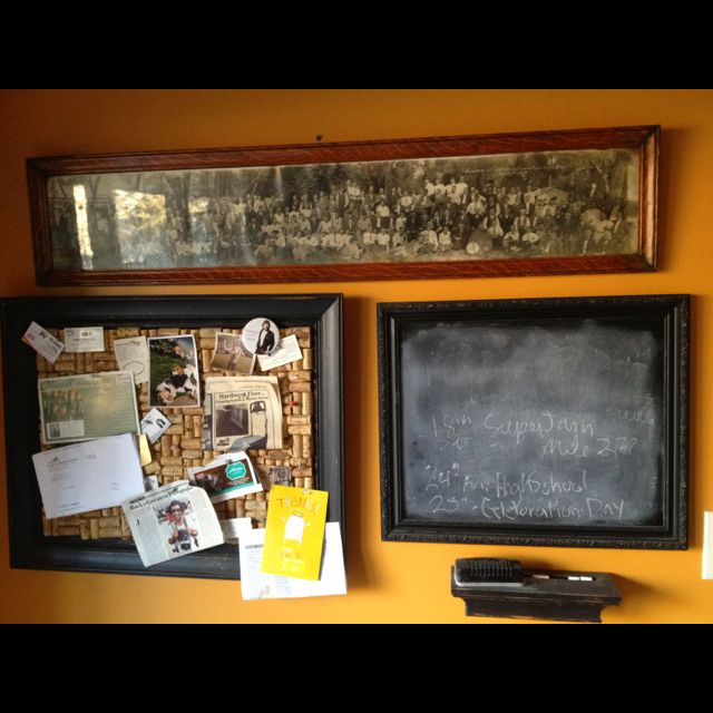 Wine cork board and glass frame painted with chalk board paint and an old photo from 1915