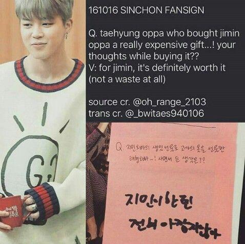 Aww Taehyung Buys Jimin An Expensive Gift Taehyung Jimin Vmin