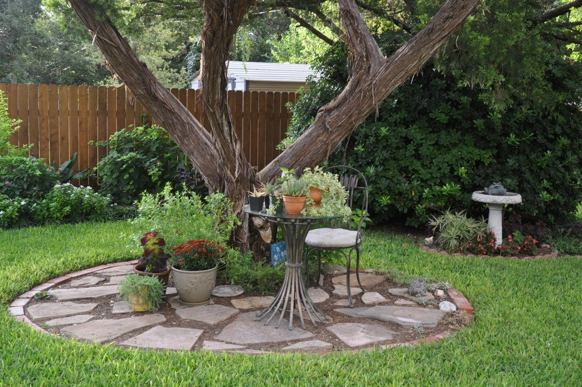stone bench around tree