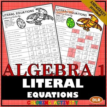 Writing Literal Equations Coloring Activity Literal