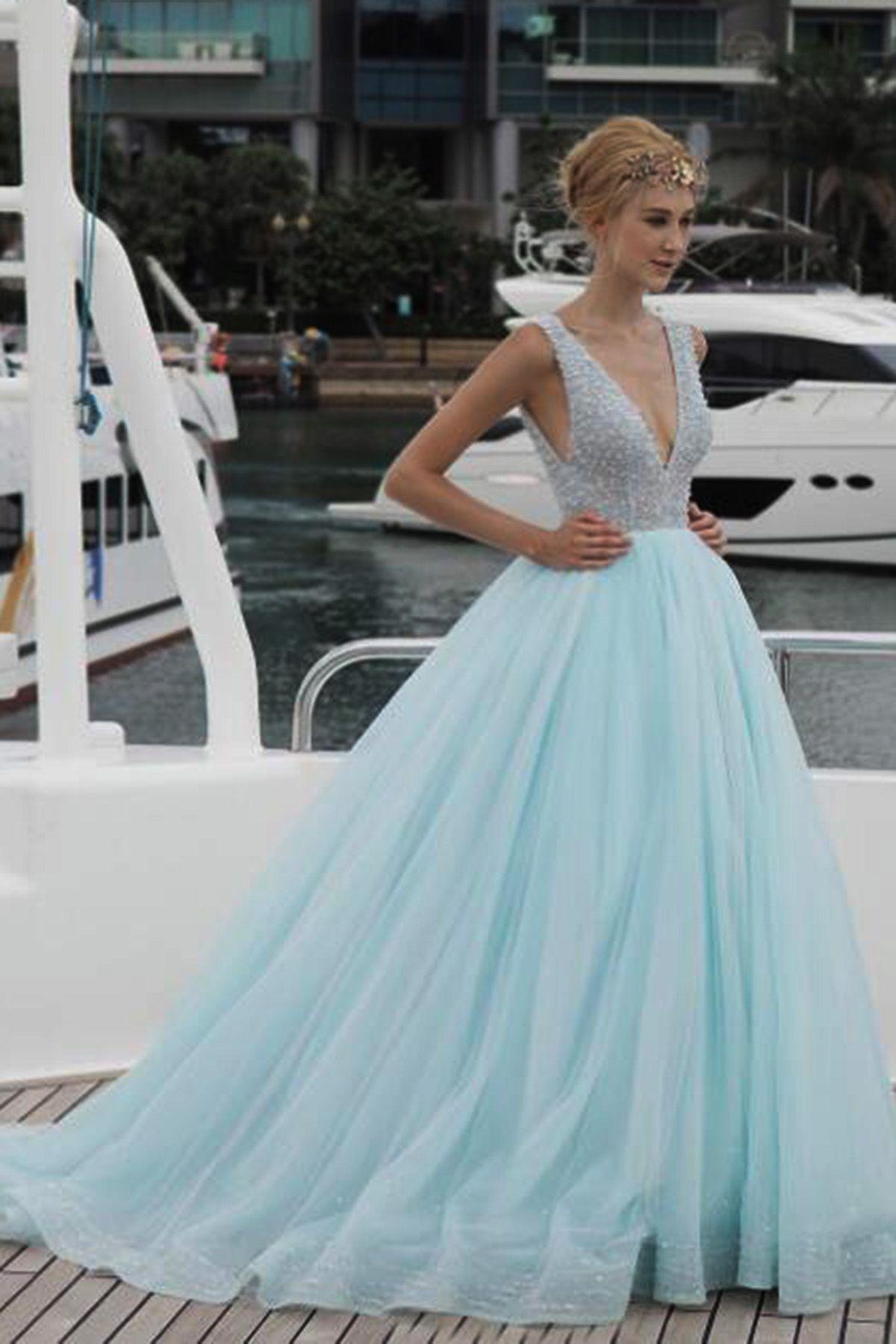 Beaded light blue tulle prom dress, v-neck prom dress, senior prom ...